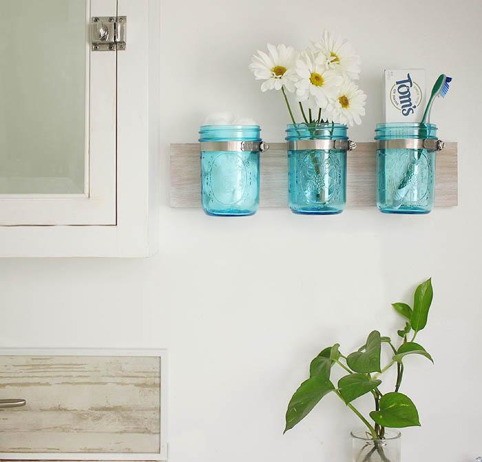 Coastal Mason Jar Organizer DIY