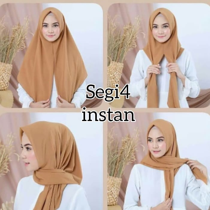 Jilbab Segi Empat Instan Diamond Polos Hijab instan Terbaru Premium