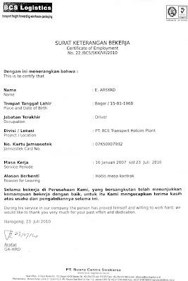 contoh surat keterangan bekerja dalam bahasa indonesia dan inggris