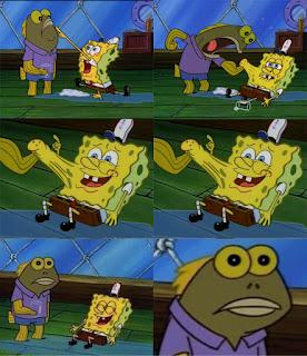 Polosan meme spongebob dan patrick 32 - ikan coklat yang marah mencoba memukul dan menantang spongebob
