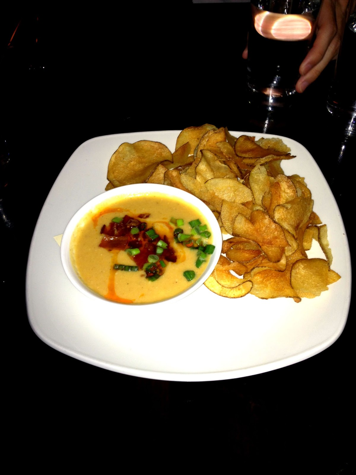 Our complimentary Chips & Hummus with bacon puree