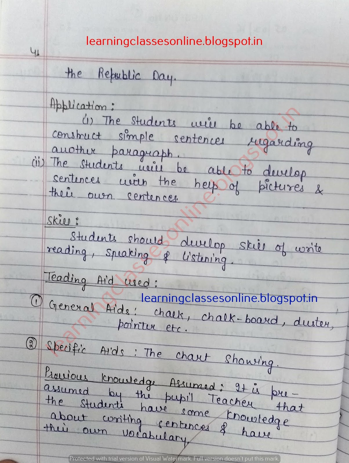 English Lesson Plan on Republic Day for New Teachers - Learning