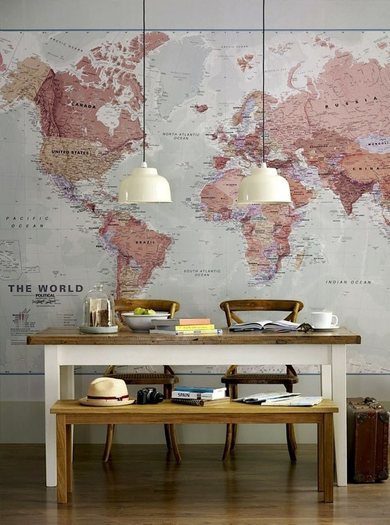 decorating with maps map wall decor travel art collage ...