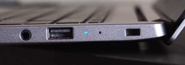 Ports on the right side of this laptop.