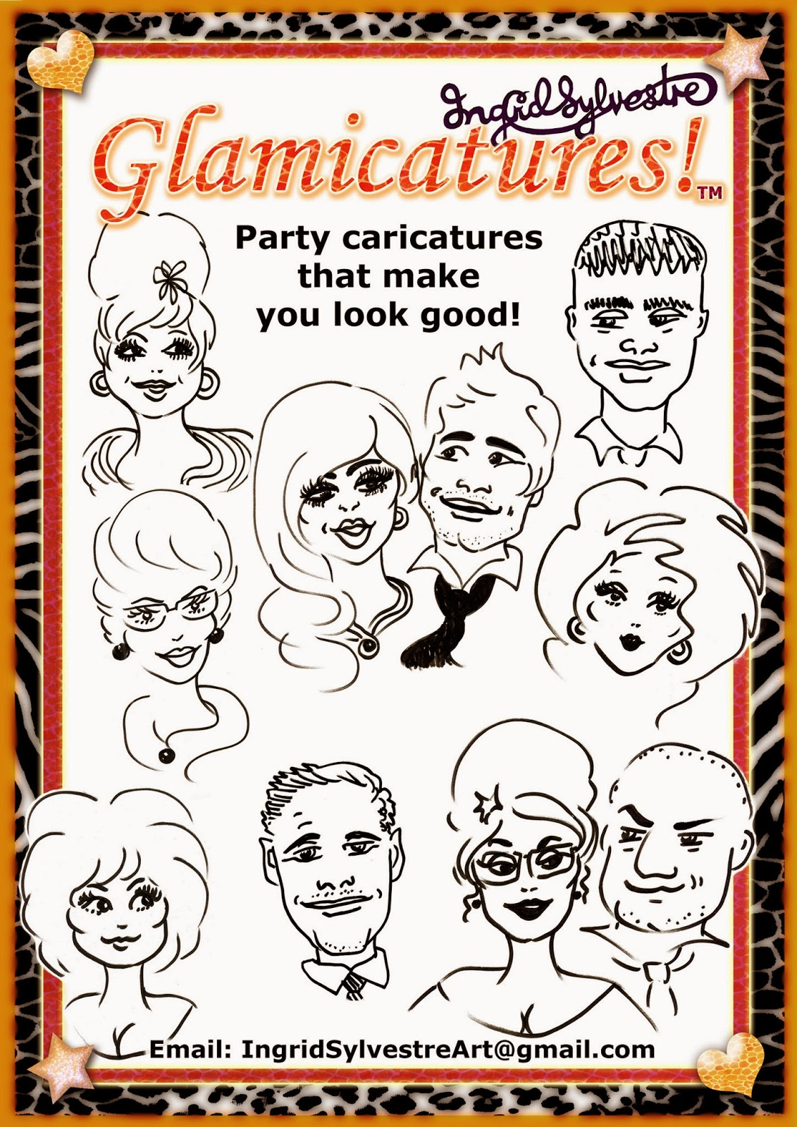 Ingrid Sylvestre Glamicatures TM - Party caricatures that make you look good!