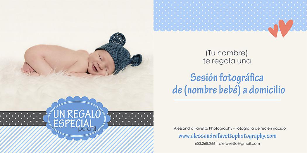 Tarjeta regalo para una sesión de foto de recién nacido a domicilio en Sevilla y provincia