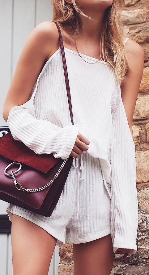 stylish outfit idea: bag + white jumpsuit