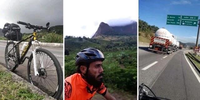 A expedição do ciclista Giovane Sampaio, entre Piritiba, na Chapada Diamantina, até São Paulo percorreu 2.609 quilômetros por mais de 118h