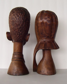 Wood Carving of African American Couple Back View