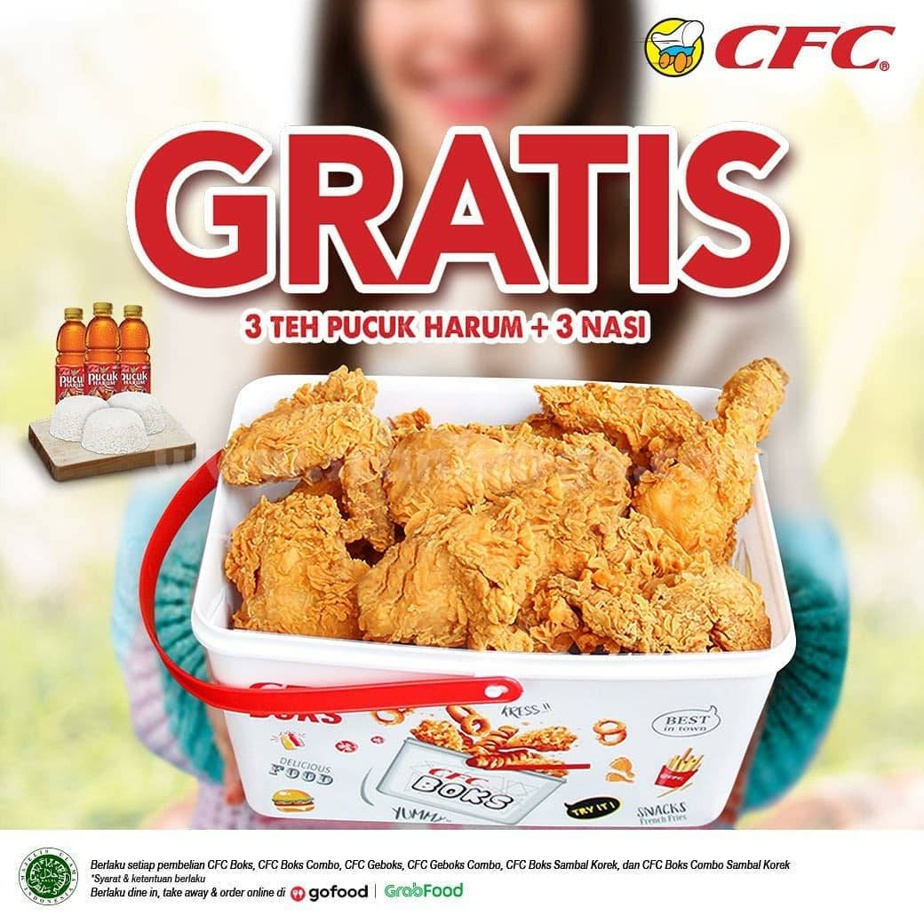 Promo CFC Boks + GRATIS 3 Teh Pucuk Harum & 3 Nasi Via GRABFOOD