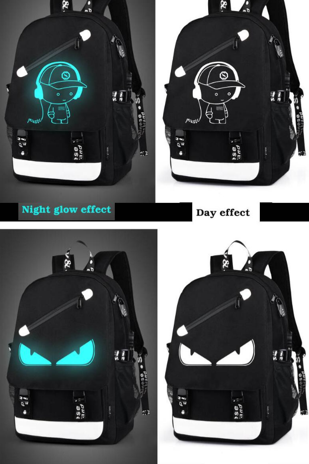 Student Luminous Animation USB Charge School Bags