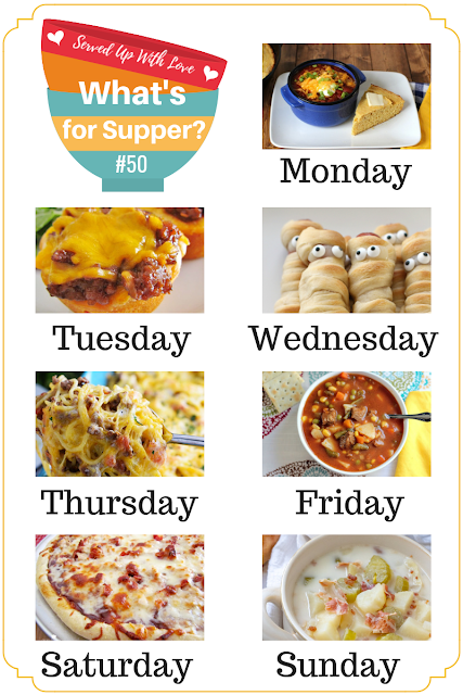Mummy Dogs, Crock Pot Chili, Taco Spaghetti Bake, and so much more at What's for Supper Sunday weekly meal plan.