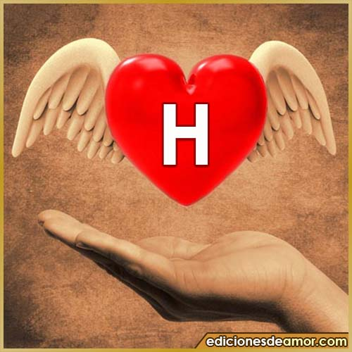 corazón con alas con letra H