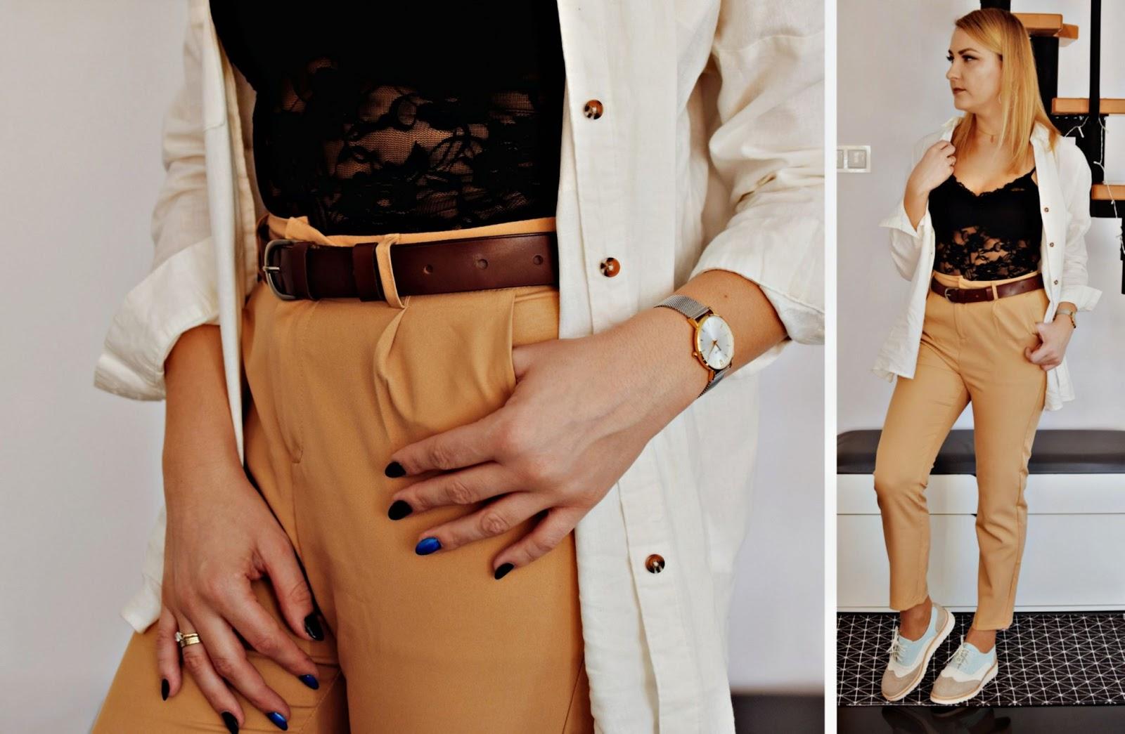 Lniana koszula i beżowe spodnie