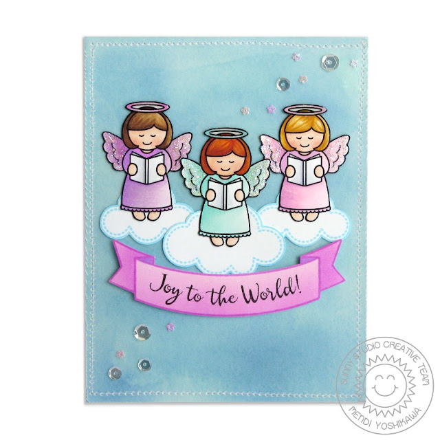 Sunny Studio Stamps: Little Angels Joy To The World Christmas Card by Mendi Yoshikawa
