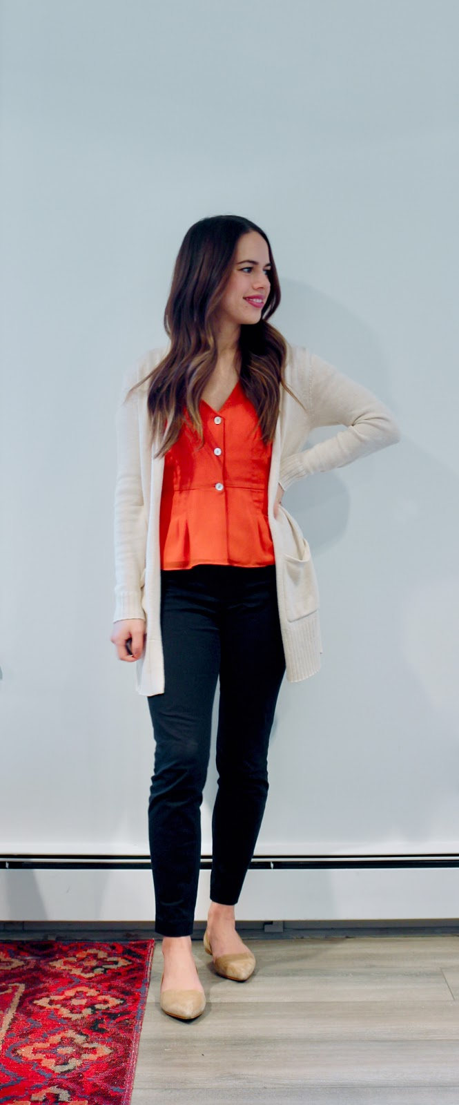 Jules in Flats - Aritzia Wilfred New Button Front Blouse with Boyfriend Cardigan (Business Casual Winter Workwear on a Budget)