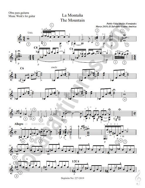 Hoja 2 Partitura de Guitarra con digitación en números de La Montaña del compositor Pablo Vidal Ibáñez Fernández Sheet Music for Guitar fingering