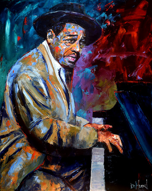 Duke Ellington portrait by Debra Hurd Jazz painting music art piano paintings