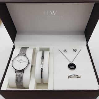 Jam Tangan Terkenal DW paket komplit silver