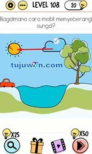 level 108 Bagaimana cara mobil menyeberang sungai brain test