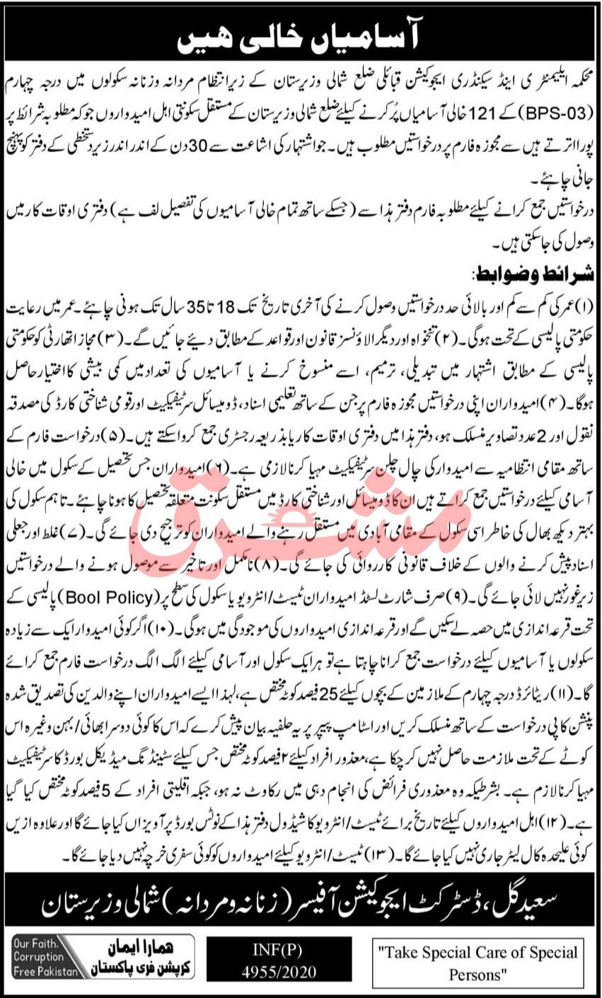 Govt School Jobs 2021 - Elementary & Secondary Education Department Jobs 2021 - Government of KPK Jobs 2021 - North Waziristan Latest Jobs 2021