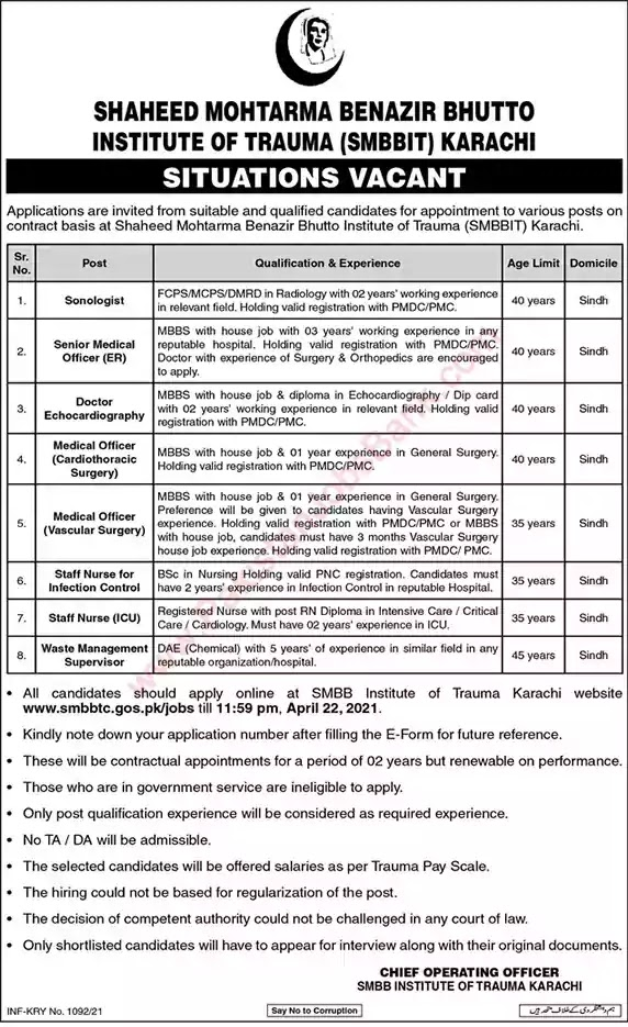 New Jobs in Pakistan Shaheed Mohtarma Benazir Bhutto Institute of Trauma Karachi Jobs 2021 | Apply Online