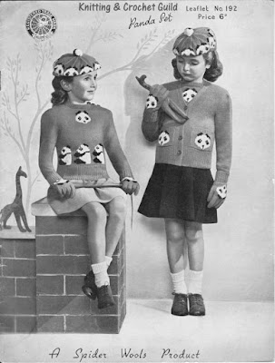 1940s vintage knitting pattern; Fair Isle; child's twin set, beret & gloves with panda design