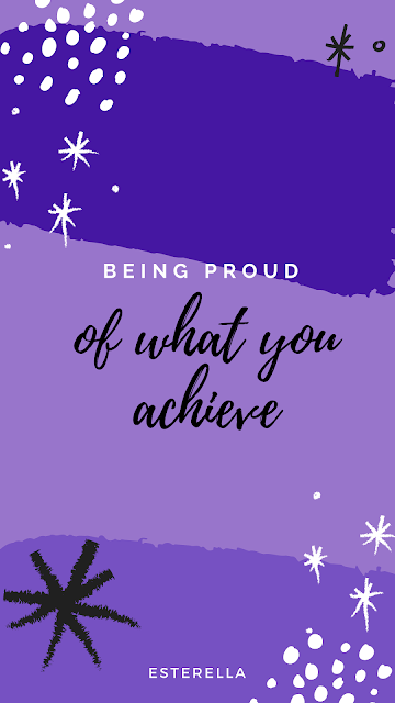 Stars and dot pattern in the corners on a purple and lilac background. Text in the centre reads being proud of what you achieve.