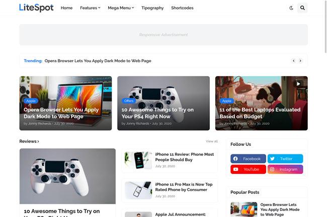 Modelo de Blogger de revistas e notícias responsivas LiteSpot