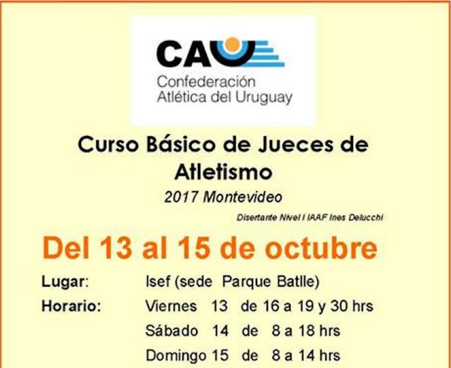 Curso básico para Juez de atletismo CUJA - CAU (en ISEF - Montevideo, 13a15/oct/2017)