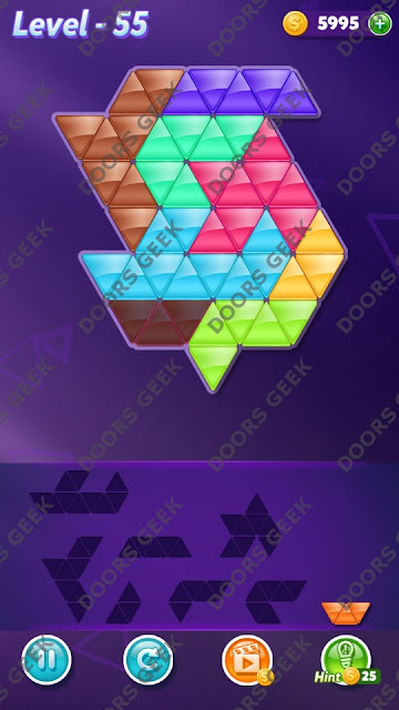 Block! Triangle Puzzle 8 Mania Level 55 Solution, Cheats, Walkthrough for Android, iPhone, iPad and iPod