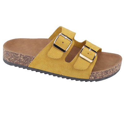 Time and Tru Two Band Footbed Slide Sandal in mustard on a white background.