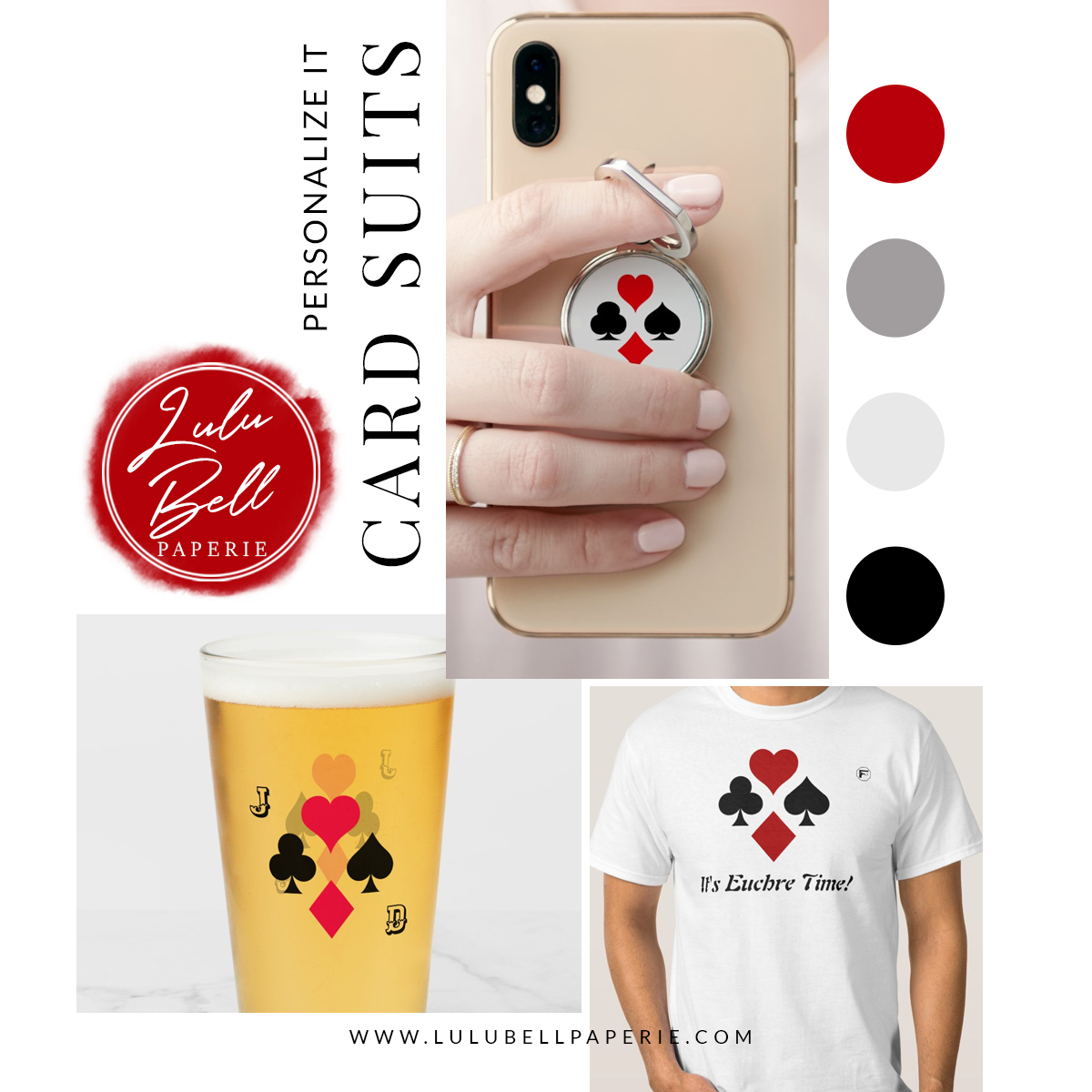 Personalized and monogrammed beer glass, tee-shirt, and phone grip. Custom gifts and apparel with playing card suit symbols; hear, spade, club, and diamond. In a red black and gray color palette.