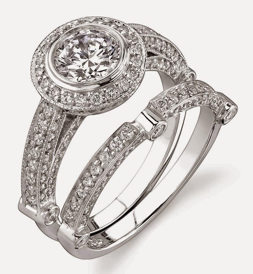 Big Diamond White Gold Engagement and Wedding Ring Sets ...
