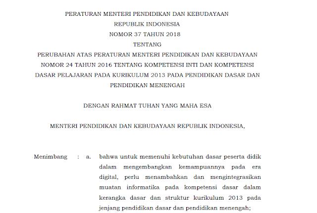 KI dan KD Kurikulum 2013 SD/MI, SMP/MTs, SMA/MA/SMK Terbaru 2019