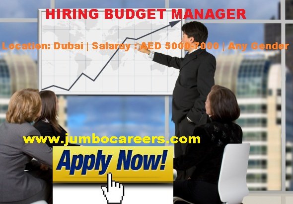Budget Manager Job in Dubai with Salary AED 5000-7000