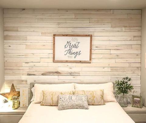 kamar dinding kayu shabby chic