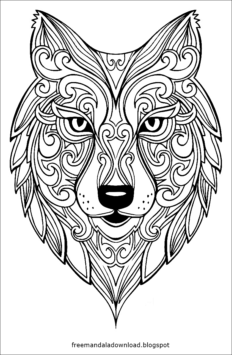 Malvorlagen - Wolf Mandala zum Drucken - Free Mandala