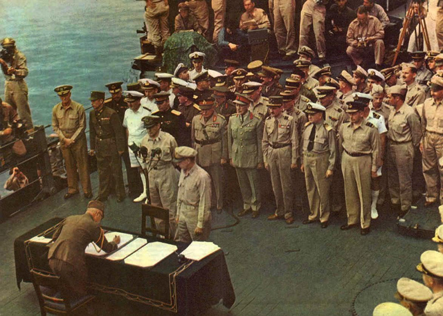 Japanese surrender delegation on board USS Missouri worldwartwo.filminspector.com