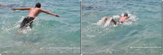 swimming in Kefalonia clear blue waters