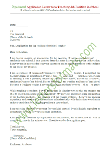 sample of an application letter for the post of a teacher in a school
