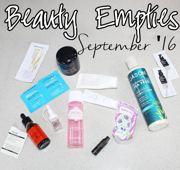 Beauty products used up in September 2016 and my quick impressions of each.