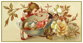 Mid 1880 Victorian scrapbook card. Little girl with a teacup holding her doll. Sweet