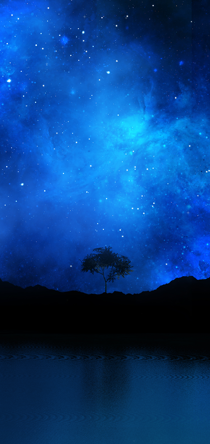 wallpaper blue night with a tree in a beautiful landscape hd