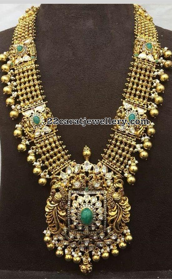 Broad Peacock Long Haram in 22 Carat Gold
