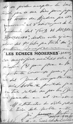 Nota manuscrita de José Juncosa en la portadilla del libro Libro Les Échecs Modernes