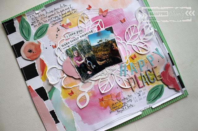 """ Happy Place"" layout by Bernii Miller for Scrapping Clearly design team, using the Fancy Free collection by Paige Evans."