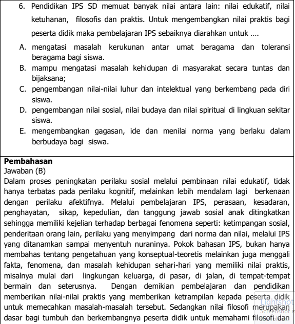 Latihan Soal Dan Pembahasan Ujian PPPK Guru SD Materi IPS Tahun 2021