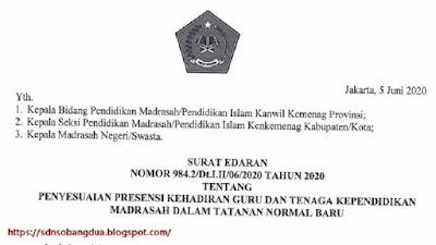 Penyesuaian Presensi Kehadiran Guru dan Tenaga Kependidikan Madrasah dalam Tatanan Normal Baru