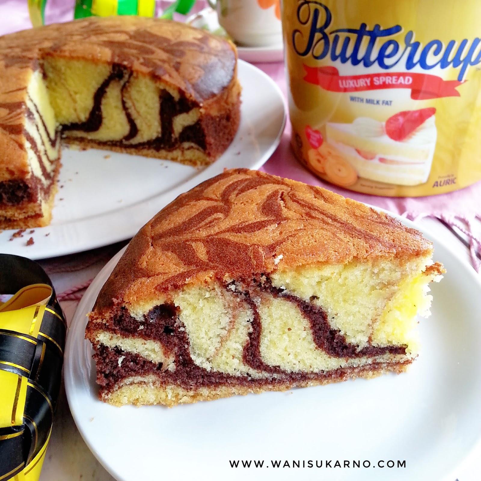 resepi kek marble susu buttercup raya  lembut moist  gebu sukatan cawan Resepi Kek Guna Gelatin Enak dan Mudah